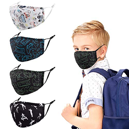 Genovega Kids Face Cloth Mask Reusable Washable Funny Designer Cute Fashionable Fashion Gaiters Breathable Adjustable Black Pink White Facemasks for Kids Childrens Boys Girls Child Youth Teen