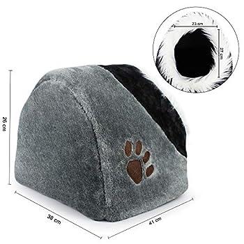 Todeco - Grotte pour Animaux en Peluche, Maison pour Chat - Matériau: Peluche - Accessoires: (1x) Coussin Amovible - 41 x 38 x 26 cm, Gris