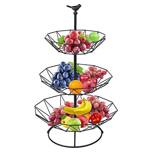 Hossejoy Obstkorb, 3-stufiger Servierkorb Obstschale & Snack-Verkaufsständer, Perfekt für Obst, Gemüse, Snacks, Haushaltsgegenstände und vieles mehr(schwarz)