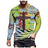 Camiseta de manga larga para hombre, para otoño e invierno, informal, a la moda, cuello redondo estampado, camiseta de manga larga, A_rojo., XXXL