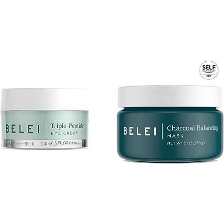 Belei Triple-Peptide Eye Cream, Fragrance Free, Paraben Free, 0.5 Fluid Ounce (15 mL) & Charcoal Balancing Mask, Fragrance Free, Paraben Free, 5 Ounce (150 g)