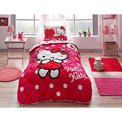Tac Hello Kitty - Juego de funda nórdica y funda de almohada (155 x 215 cm), diseño de Hello Kitty