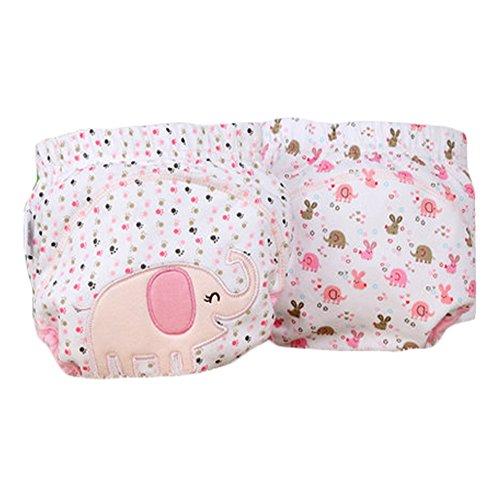 Cache-couche adorable éléphant rose pour bébé, élastique avec fermeture à boutons (M, 9 à 11 kg)