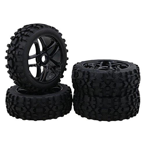 Hobbypower 4pcs 17mm Hub Wheel Rim & Tires Tyre OD-118mm for 1/8 Off-Road RC Buggy Truck