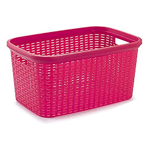 Plastic Forte - Cesta colada rectangular estilo mimbre, Pongo todo de plástico ,Cesta para ropa , Disponible 4 colores Para elegir que te más preferida53,5 x 36 x 26,5 cm (Rosa)