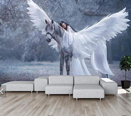 Fotobehang, vlies, 3D, Nordic Forest Horse Girl Engel, muurschildering, foto, muurschildering, voor slaapkamer 350*245 350*245