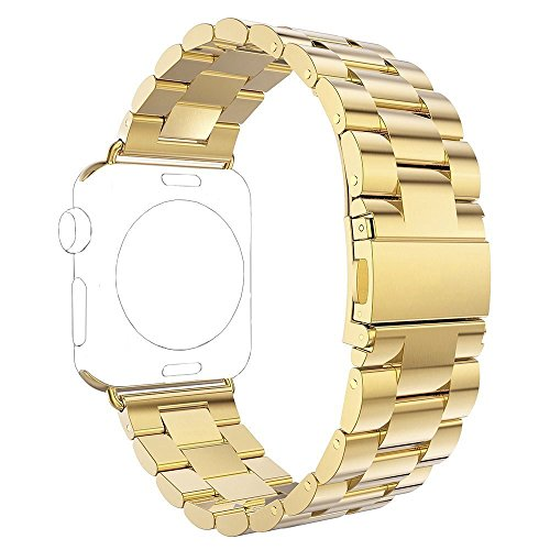 Für Apple Watch Armband 38mm Gold,Rosa Schleife Edelstahl Metall Apple iWatch Armband Uhrenarmband Replacement Strap Armbänder mit Metallschließe für Apple Watch Series 3 2 1 Sport & Edition