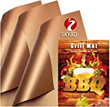 SKYBD 6PCS Copper Grill Mats -100% Non-Stick BBQ Grilling Sheets, Heavy Duty, Reusable, and Easy to Clean - Works for Outdoor Gas, Electric, Charcoal Grill - 15.8 x 13 Inch
