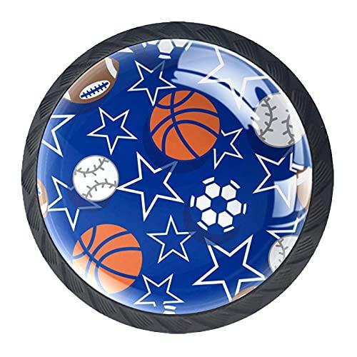 Juego de 4 pomos para armario de baloncesto y fútbol, diseño de estrella de fútbol, color azul