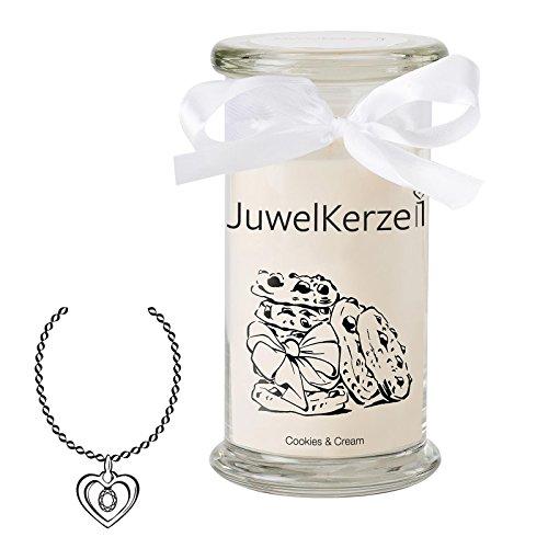 JuwelKerze Cookies & Cream - Kerze im Glas mit Schmuck - Große beige Duftkerze mit Überraschung als Geschenk für Sie (Silber Anhänger, Brenndauer: 90-120 Stunden)
