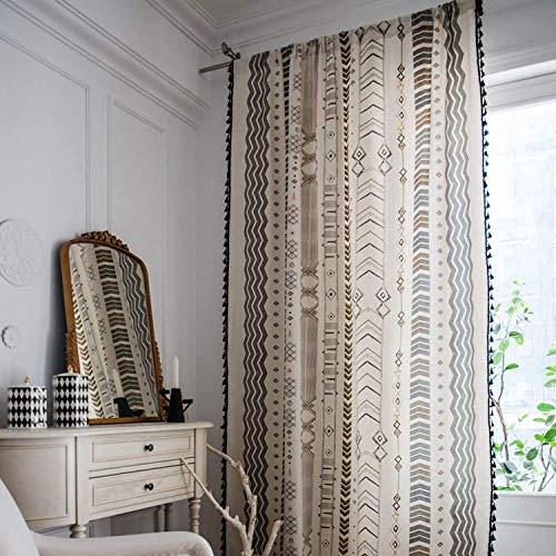 "Boho Window Curtain Panel with Tassels Striped Geometric Print Country Style Cotton Linen Room Darkening Curtain Panel for Bedroom Living Room Rod Pocket Top (Arrow Black, 59"" x 63"", 1 Pane)"