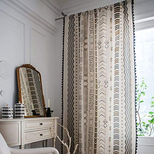"Boho Window Curtain Panel with Tassels Black Arrow Geometric Print Country Style Cotton Linen Room Darkening Curtain Panel for Bedroom Living Room Rod Pocket Top(Arrow Black, 59"" x 87"", 1 Panel)"