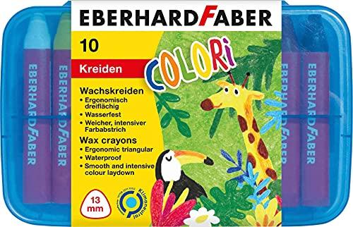 Eberhard Faber 524011 - Wachsmalkreiden dreiflächig, 10 Stück in Plastikbox