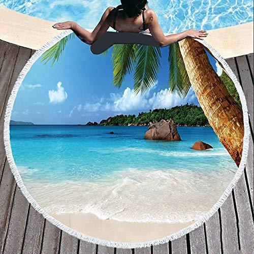 Kaper Go Manta De Toalla De Playa Redonda Mar, Tiro En 3D Tapiz De Hippie Mantel De Mesa Meditación Yoga Estera De Picnic Baño De Viaje Microfibra Chal Roundie Protector Solar Camping 2 Clips