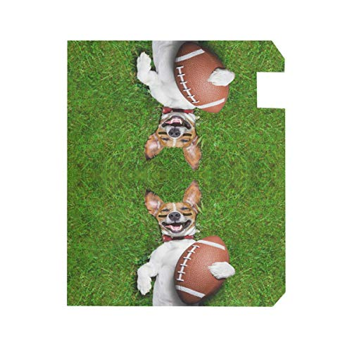 ZZKKO Dog With Football Magnetic Mailbox Cover Wrap Post Letter Box Cover for Outside Garden Home Decor Standard Size 20.8 x 18 Inch