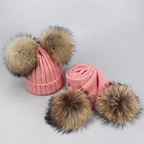 XCLWL muts voor heren, set met muts en sjaal, voor herfst en winter, pompons, voor dames, gebreide muts, haakpatroon, roze