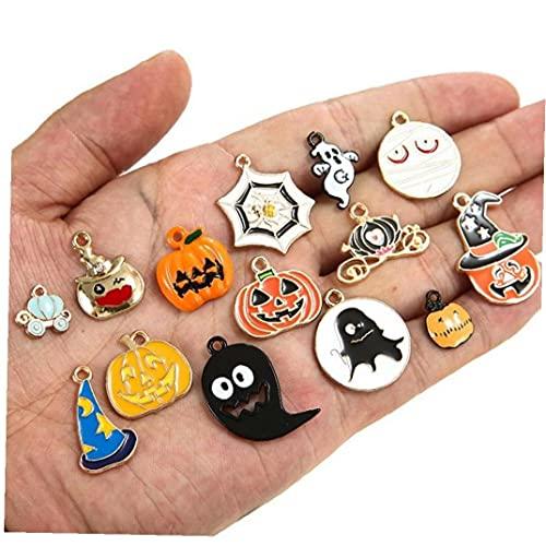 Froiny 14 Piezas De Aleación De Halloween Colgantes De Los Encantos DIY Encantos Calabaza Fantasma Esmalte Decoración del Encanto para Hacer Joyería De Bricolaje