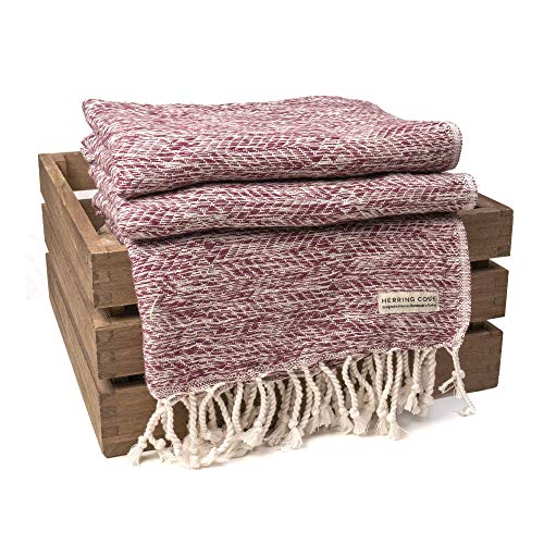 Wellfleet XL Turkish Cotton Throw Blanket by Herring Cove Textile Company | Eco-Friendly and Handmade from 100% Aegean Cotton | Oversized 40