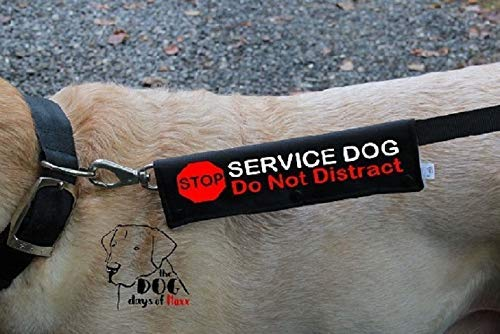 Dog Leash Sleeve STOP Service Dog- Available in 7 colors- Dog Leash wrap snaps over your leash