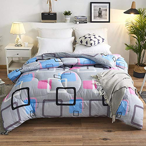 Duvet Solid Color Winter Quilt, Chemical Fiber Quilt, Thickened Quilt, Warmth, Brushed, Embossed Single And Double Quilt-Colorful_Cloud_Lattice_180x220cm/2.5kg