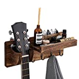 ZULANI Perchero de pared para guitarra, soporte de pared de madera para guitarra con estante de almacenamiento y 4 ganchos de metal para guitarra acústica y eléctrica
