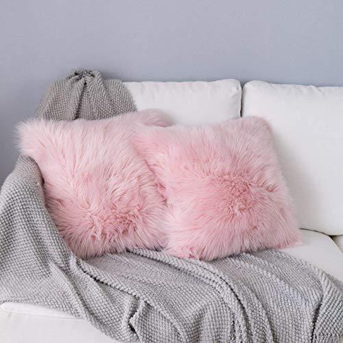 DQMEN Weicher Deko Kissenbezüge 45 x 45 cm, Langhaar ZierKissenbezug dekoratives Fellimitat SofaKissenbezug Kunstfell Kissenbezug (2Pcs Pink, 45 x 45cm)