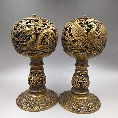 RSRZRCJ Skulpturen Figuren Modern Messing Drache Und Phönix Öllampe Messing Kerzenhalter Dekoration Wohnzimmer Bronze Dekoration