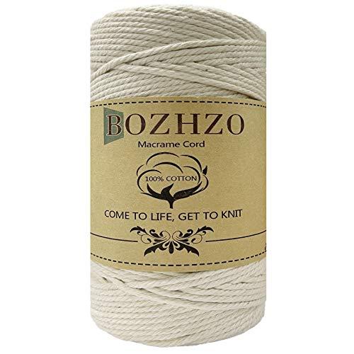 BOZHZO Hilo de macramé, 2 mm x 200 m, hilo de algodón, 100% algodón natural, ideal para principiantes, jardinería, cocinar, manualidades y más decoración (arroz blanco)