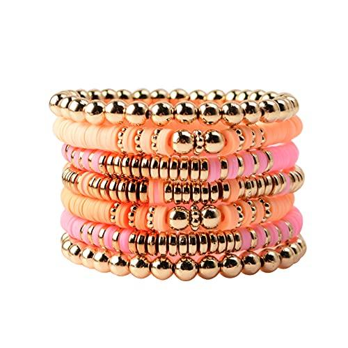 Colorful Clay Bead Bracelet for Women Girls Layered Gold Bead Strand Bracelet Handmade Multiple Flat Beads Stretch Bracelet Heishi Surfer Bracelets (F-Pink&Yellow 7pcs)