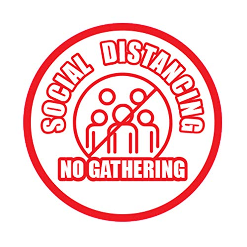 "Social DISTANCING No Gathering COVID-19 Coronavirus Floor Decals Sign Self Adhesive UV Print for Outdoor and Indoor Heavy Foot Traffic – 12"" X 12"" (Theme 3)"