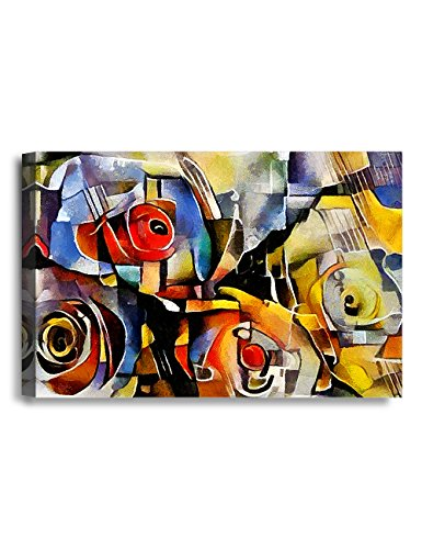 IPIC - A Bouquet of Beautiful Flowers, Oil Painting in Picasso Style. Giclee Print on Canvas Wall Art for Home Decor. 36x24x1.5