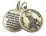 Religious Gifts Silver Toned Base Saint Patrick Medal with Prayer Protection Pendant, 3/4 Inch