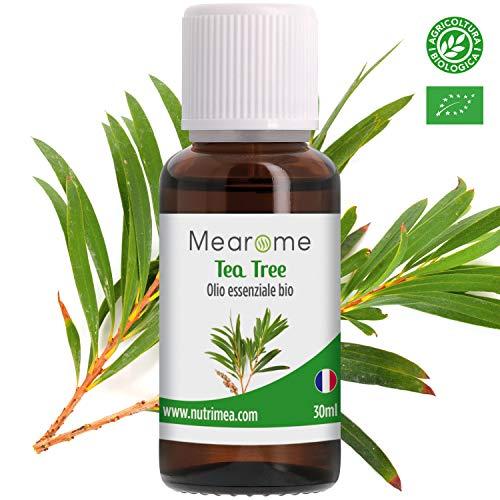 Olio Essenziale di Tea Tree • 100 % Puro, Naturale e Vegano • Olio Essenziale per Aromaterapia, per Massaggi, per Diffusori • Certificato OEBBD, OECT e Agricoltura Biologica • 30 Ml Mearome