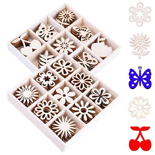 Ancefine 90 Pieces Mini Laser Cuts Wood Shapes Bundles Unfinished Wooden Scrapbooking Embellishments Flower and Butterfly Themed for Card Gift Tag Home Decoration