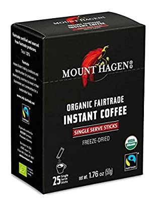 Mount Hagen Organic Instant Regular Coffee, 25 Count Single Serve packet by 3M