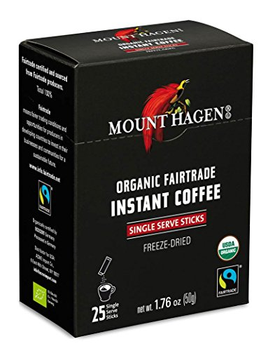 Mount Hagen Organic Instant Regular Coffee, 25-Count Single Serve packets (Pack of 4)