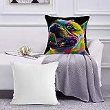 Ccstyle Funda de Cojín Funda de Almohada del Hogar Colorido Tie Dye Rainbow Dog Bulldog,Square Soft and Cozy Pillow Covers,