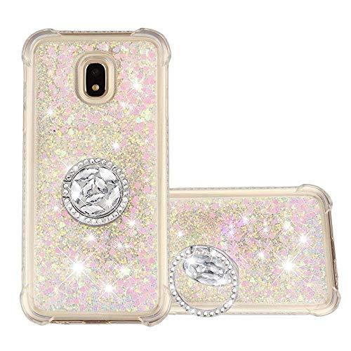 HopMore Glitter Case voor Samsung Galaxy J3 2017, siliconen glitter ring, standaard TPU