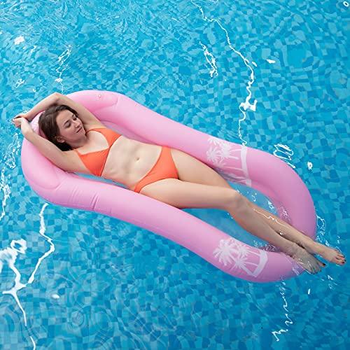 Myir Pool Hängematte mit Mesh, Aufblasbare Wasserhängematte luftmatratzen Liege Wasser Bett Floating Lounge Stuhl Schwimmbad Aufblasbarer Spielzeug für Erwachsene (Wasserhängematte Pink)