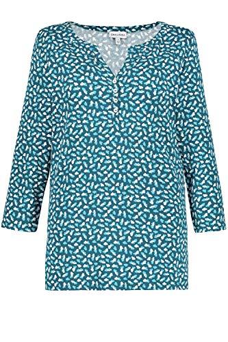 GINA LAURA Damen Shirt, Gingkomuster, 3/4-Ärmel, Knöpfe Pazifik XL 726957 85-XL
