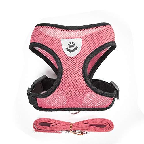 Arnés de perro pequeño para perro de cadena de peluche chaleco de cachorro pecho con correa de malla transpirable para mascotas traje para caminar al aire libre alambre XL rosa