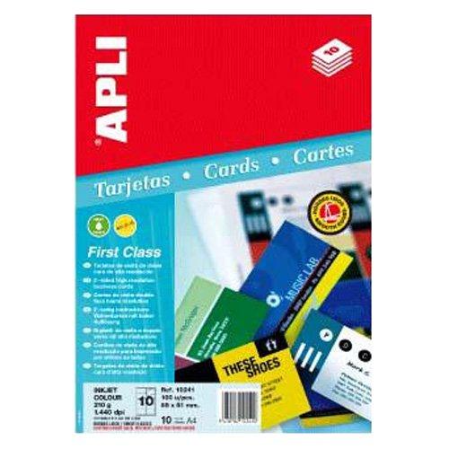 APLI 10241-Tarjetas de visita doble cara mate 320 g 20 hojas