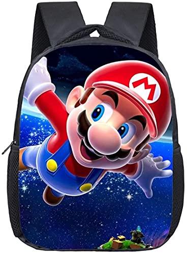 Super Mario Bros Mario Kart Mochila escolar para niños, dibujos animados, Mario Juego Escolar Gran Capacidad Multifunción (Mario-10.13 pulgadas)