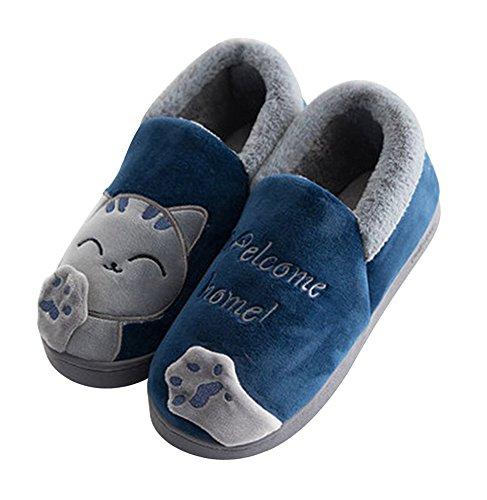 Minetom Erwachsene Plüsch Hausschuhe Winter Wärme Indoor Pantoffeln Home rutschfeste Weiche Leicht Baumwolle Slippers für Herren Damen B Blau EU 40