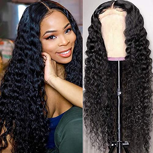 Blomas Deep Wave Lace Front Wigs Human Hair Middle Part Long Human Hair Wigs for Women T-part Brazilian Curly Virgin Hair Lace Frontal Wig Natural Color 26 Inch