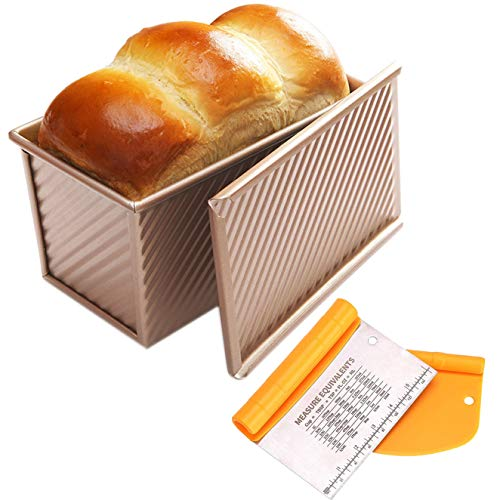 Pullman Loaf Pan with Lid 1lb (450g) + Bench Dough Scraper Set for Baking - NonStick Bread Baking Pan with Cover - Bakeware Bread Toast Mold with - Carbon Steel Corrugated