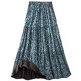 CATALOG CLASSICS Women's Reversible Broomstick Skirt - Blue Lagoon Paisley Print Reverse to Black - XL