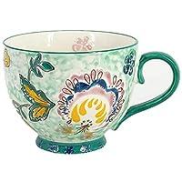 14オンスヨーロピアンスタイルとアメリカンスタイルの手描きマグカップコーヒーカップミルクカップ朝食カップシリアルカップティーカップ (緑)