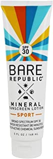 Bare Republic Mineral SPF 30 Body Sunscreen Lotion. Long-Lasting and 80 Minute Water-Resistance Sunscreen, 5 Ounces.