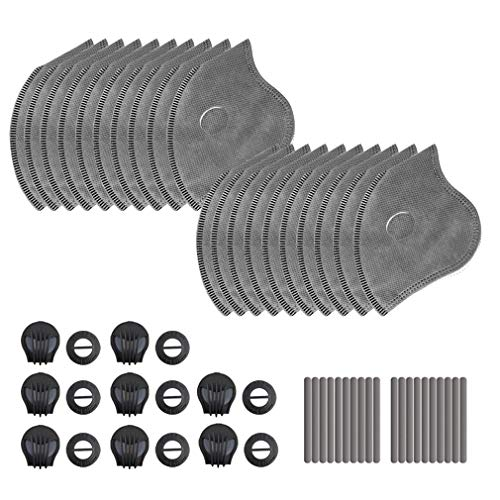 20 PCS Activated Carbon Filters Replacements Parts Set of 20 Fit for Most Cycling Filters with 8 Exhaust Valves Replacement Dust and 20 Soft Nose Pads